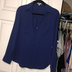Express Blue button down blouse small